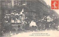 CPA 75 PARIS LA CALVALCADE DE LA MI CAREME LE CHAR DES CHAPEAU ET EPINGLES (RARE