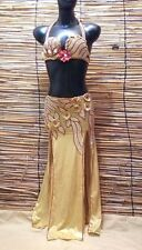 Egyptian Belly Dance Costume bra & Skirt  New Set Professional Dancing Gold