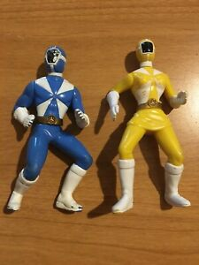 2pc 2000 Mcdonalds Blue And Yellow Power Rangers Toys