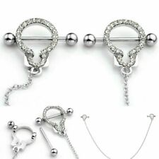 Women Stainless Steel Handcuff Crystal Shield Cubic Zirconia Sexy Body Piercing