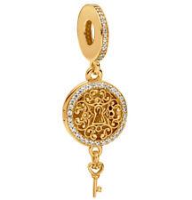 Genuine PANDORA Regal Key Hanging Charm 14K Gold Vermeil 797660CZ