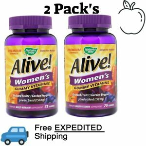2 Pack's Nature's Way, Alive! Women's Vitamins, 75 Gummies