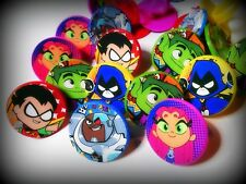 Titans Go-12 Toy Rings-Party Favors Kids Birthday Pinata Cupcake- 5 Teen char