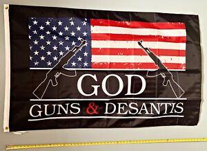RON DESANTIS FLAG *FREE SHIP USA SELLER! God Gun Desantis B Trump USA Sign 3x5'