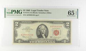 1963 $2 FR1513 (AA Block) Red Seal Graded PMG - 65 EPQ Legal Tender *650