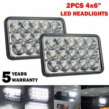 "Pair 4""x6"" LED Headlight 45W Bulbs Clear Sealed Hi/Low Beam Replacement DRL CAR"