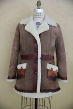 Vtg 60s 70s Sheepskin Shearling Serpa Leather Coat Jacket Boho Hippie Applique M