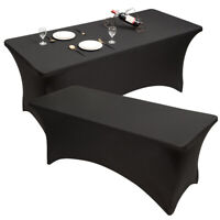 Costway 2 PCS 8ft Spandex Table Cover Stretch Fitted Tablecloth Wedding Black