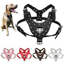 Studded Leather Pet Dog Harness For Large Dogs Pit Bull Boxer Rottweiler Bulldog