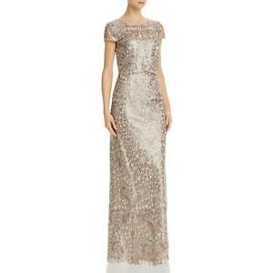Adrianna Papell Womens Gold Sequined Popover Formal Dress Gown 6 BHFO 5288