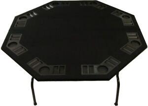 "XL 60"" Black Felt Octagon Poker Table Folding Steel Legs Texas Holdem Card Games"