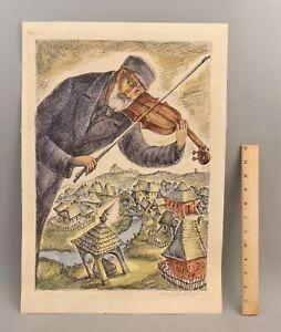Vintage Signed  CHAIM GOLDBERG Jewish Polish Village FIDDLER Lithograph Print NR