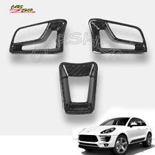 For Porsche 718 Boxster Macan Carbon Fiber Interior Steering Wheel Cover Trim