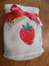 """Baby Gear Blanket Pink White Strawberry Embroidery Girl Soft Fleece 30 X 40"""" New"""