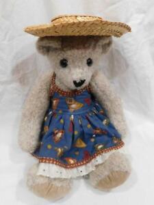 GU - 1995 Vermont Teddy Bear Wearing Blue Dress and Straw Hat