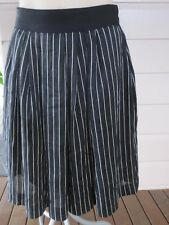 Cue gorgeous black linen-blend pleated skirt with white stripes size 6 (US 2)