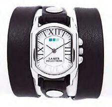 LA MER Black Italian/Silver Chateau Wrap Watch