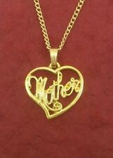 Mother Necklace Gold plated mum charm pendant and chain heart mom jewelry