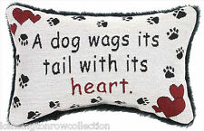 THROW PILLOWS - A DOG WAGS ITS TAIL WITH ITS HEART PILLOW - DOG LOVERS PILLOW