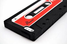 For iPhone 5 5S SE Retro Tape Cassette Black Soft Skin Silicone Case +SP Stylus