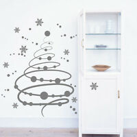 Christmas Swirly Tree Snow Flakes Decorations Vinyl Wall Stickers / Wall Decals
