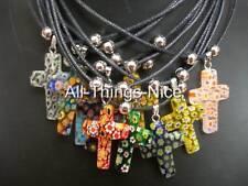 MILLEFIORI Murano Glass 30mm CRUCIFIX CROSS Pendant Necklace Jewellery 10