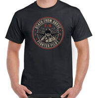 Death From Above Mens F-16 Pilot T-Shirt Fighter Jet Plane US Royal Air Force