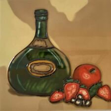 Wine Bottle Fruit Strawberries Decorative Ceramic Wall Art Tile 8x8 New