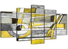 5 Piece Yellow Grey Painting Abstract Bedroom Canvas Decor - 5400 - 160cm