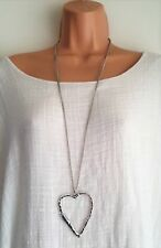 New Ladies Lagenlook Silver Colour Long Big Abstract Heart Necklace Pendant uk