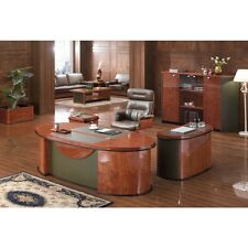 Gloss Walnut Executive Desk Set With Return and Pedestal 2.2m 6865 2200mm
