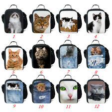 Animal Insulated Lunch Bags Cute Cat Thermal Lunch Cooler Box Bag Picnic Tote