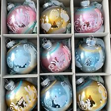 New ListingChristopher Radko Pastel Pastel Easter Bunny Pink Aqua Glass Ornaments Set 9