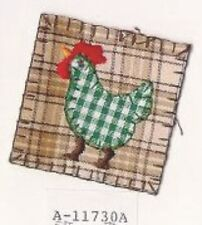 Country Plaid Farm Chicken Embroidery Patch