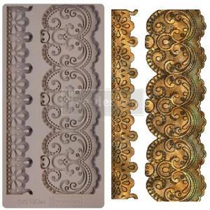 "Prima BORDER LACE Re-design Decor Silicone Moulds Food Safe 5x10"" #654344"