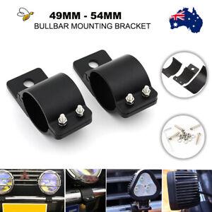 Pair 2'' Bullbar Mounting Bracket Clamp 49mm 54mm for Work Light Bar UHF Antenna