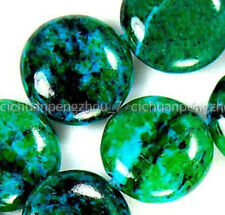 Huge 12mm Natural Green Azurite Chrysocolla Gemstone Coin Loose Beads 15''