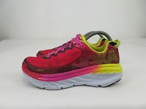 Hoka One One Bondi 5 Athletic Running Walking Shoes Pink Yellow Women Size 10 M