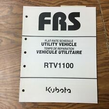 Kubota Rtv1100 Utility Vehicle Repair Time Flat Rate Schedule Service Manual Utv