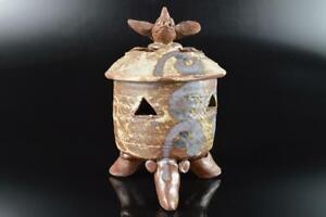 L3948: Japanese Seto-ware Youhen pattern Fish sculpture INCENSE BURNER, auto