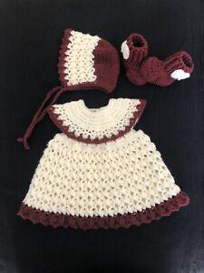 Handmade Crocheted 0-6 Months Baby Girl  Dress,bonnet and Booties