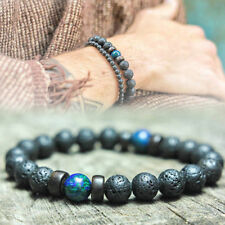 Men S Prayer Mala Beads Lava Rock Stone Chrysocolla Beaded Yoga Bracelets Gift