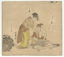 "Utamaro ""bijin watching man fillet"" ca. 1780 - Japanese Woodblock Print - Ukiyoe"