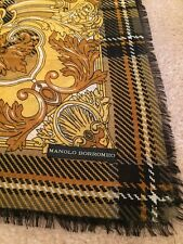Manolo Borromeo Gold/Olive/Yellow/Black/White Plaid/Floral Woven Scarf