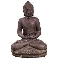 Buddha Figur sitzend Skulptur Stein Lavasand Bali Steinfigur Garten Deko 45 cm