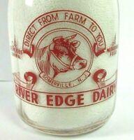 VTG River Edge Dairy Somerville NJ Children COW LOGO Milk Bottle TRPQ Red Pyro
