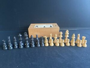 Vintage Small Boxwood Chess Set Complete - WH Smith & Son - King 5.5cm