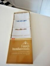 "Vtg. Set of 3 Mens Permanent Press Handkerchiefs Springmaid 16""x16"" Embroidered"