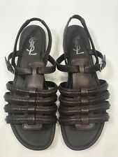 YSL SAINT LAURENT 39.5 HAMPTONS NU PIEDS FLAT LEATHER SANDALS TRIBUTE 9 9.5