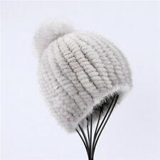 100% real mink fur knitted beanie hat women winter cap with fox fur pom poms